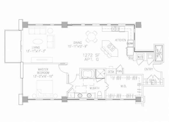 1,272 sq. ft. A6 floor plan