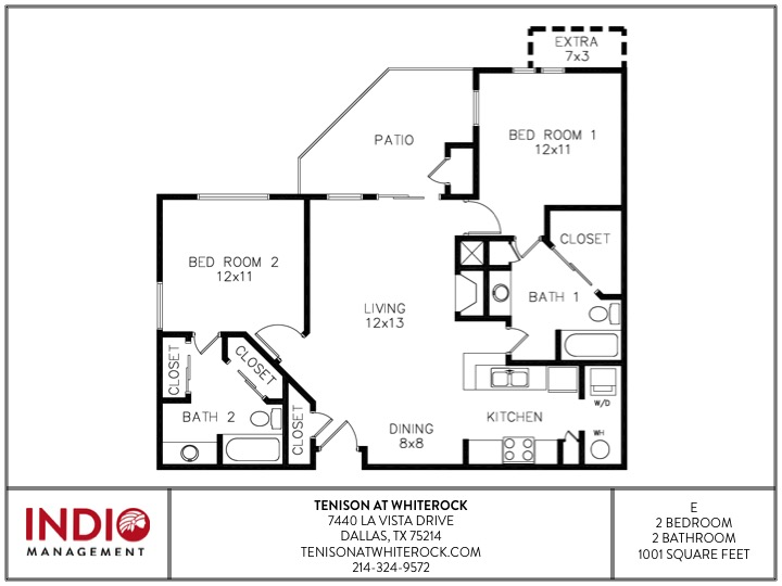 1,001 sq. ft. to 1,046 sq. ft. E floor plan