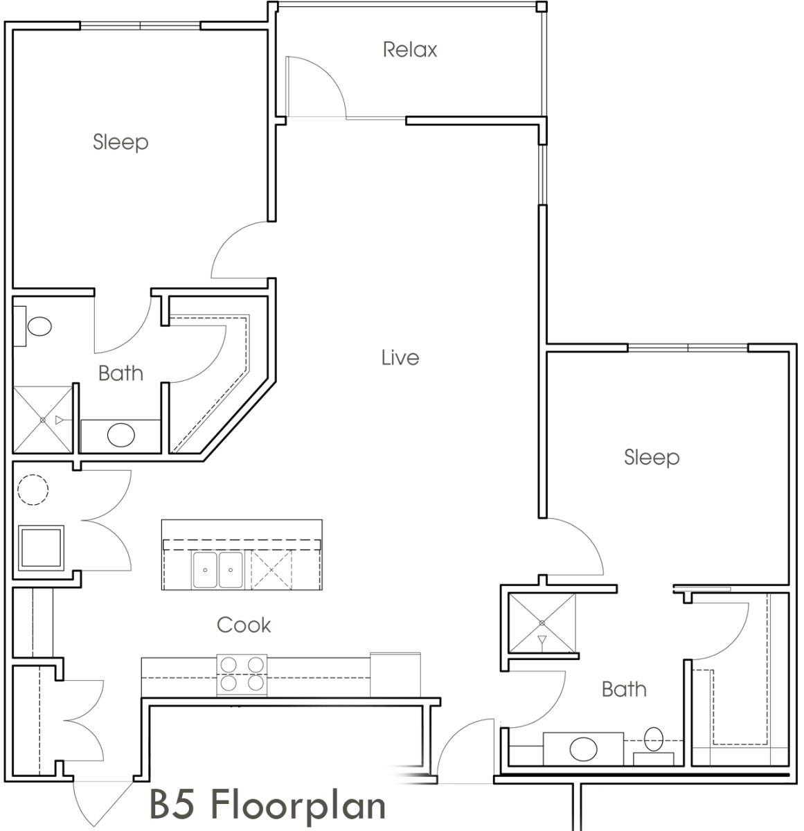 1,210 sq. ft. B5 floor plan