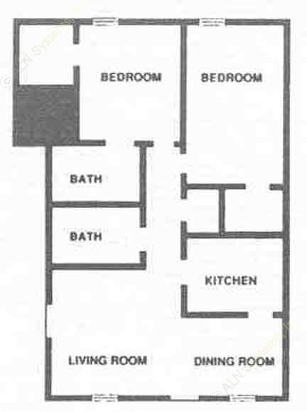 1,004 sq. ft. B4 floor plan