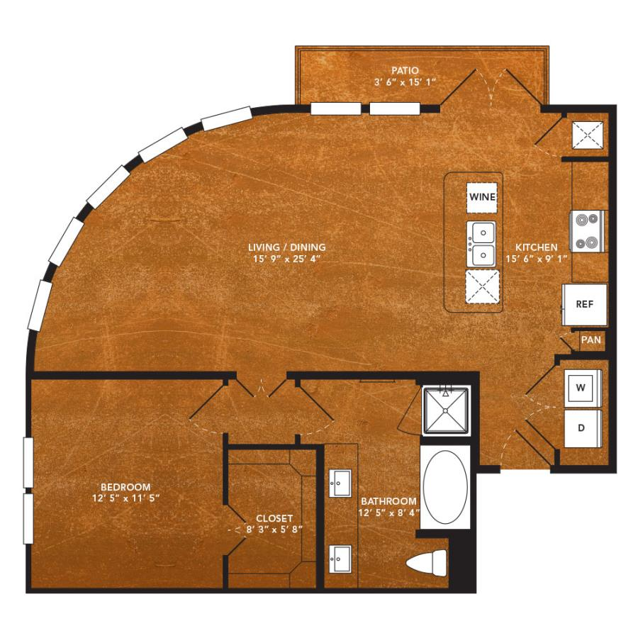 903 sq. ft. A13 floor plan