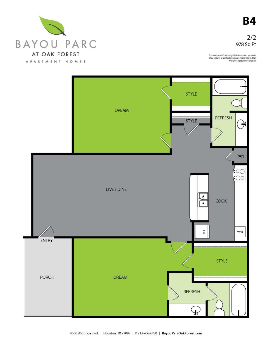 978 sq. ft. B4 floor plan