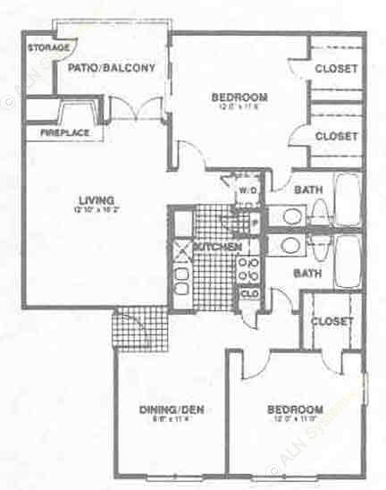 1,008 sq. ft. B2 floor plan