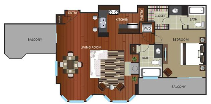 1,117 sq. ft. PNTHOUSE floor plan
