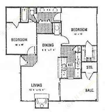 815 sq. ft. Downstairs floor plan