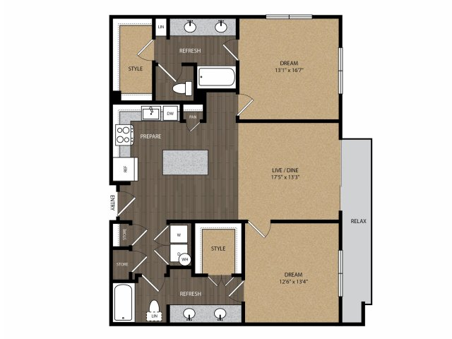 1,200 sq. ft. Rosewood B3 floor plan