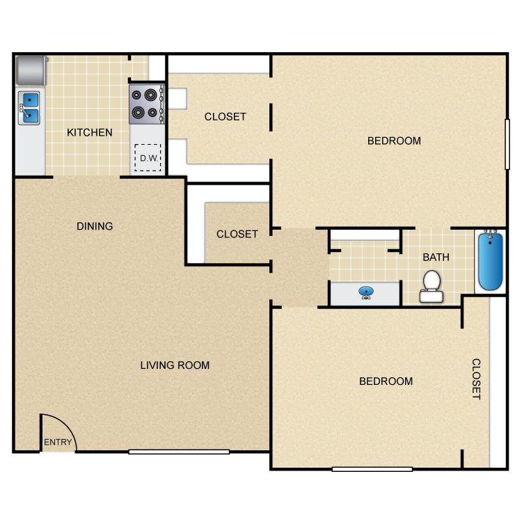 885 sq. ft. D floor plan