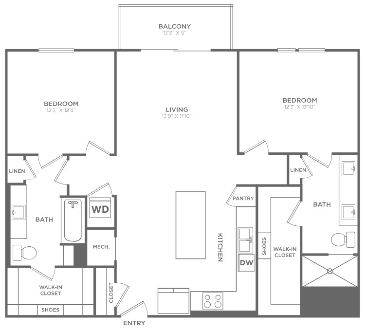 1,272 sq. ft. B3 floor plan