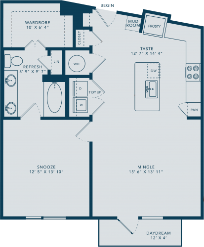 860 sq. ft. A9 floor plan