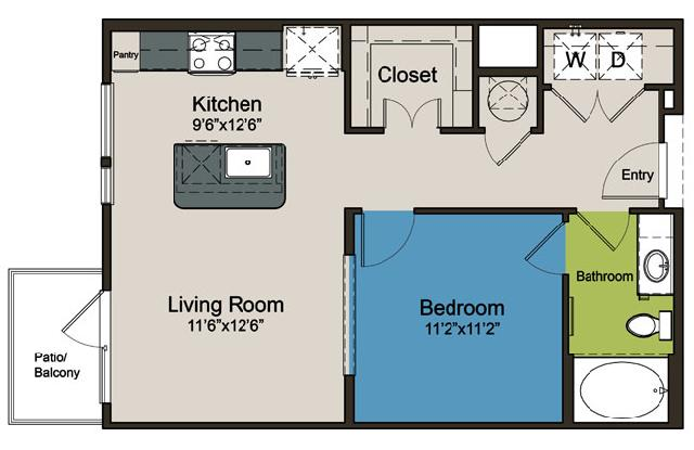 673 sq. ft. E2 floor plan