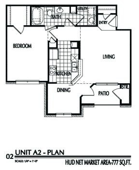 777 sq. ft. A2/60% floor plan