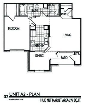 777 sq. ft. A2/60% floor plan