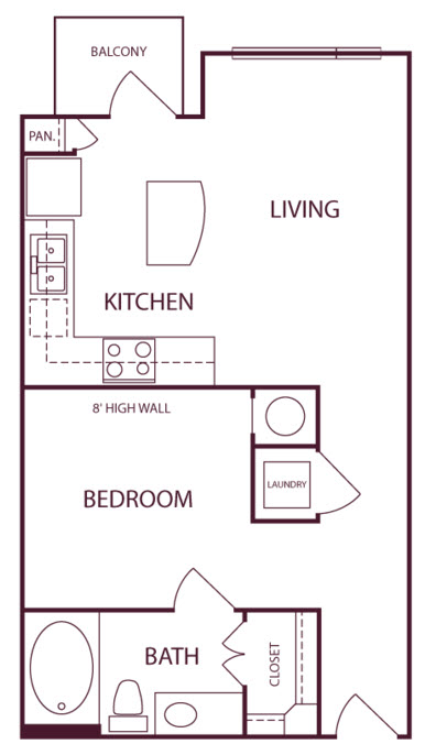593 sq. ft. A1 floor plan