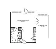 957 sq. ft. B2ALW floor plan