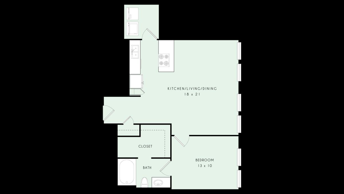 763 sq. ft. A10 MKT floor plan