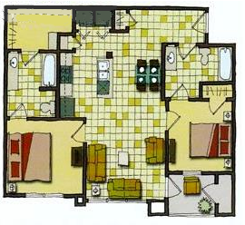 985 sq. ft. 60% floor plan