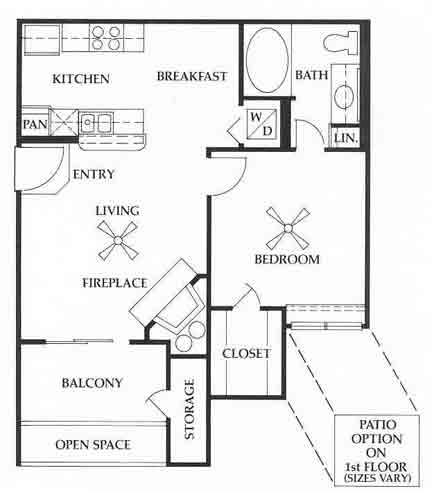 627 sq. ft. A2 floor plan