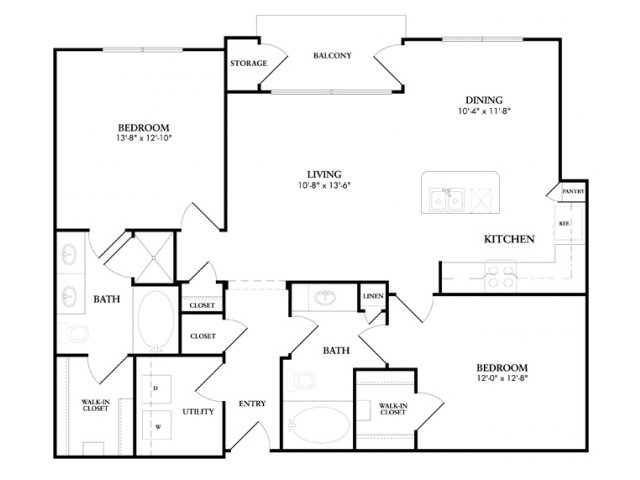 1,161 sq. ft. to 1,250 sq. ft. PebbleBrook floor plan