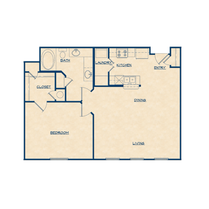 894 sq. ft. A2 floor plan