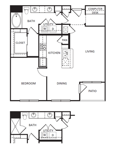 891 sq. ft. A3 floor plan