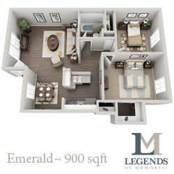 900 sq. ft. Emerald floor plan