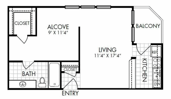 571 sq. ft. EFF floor plan