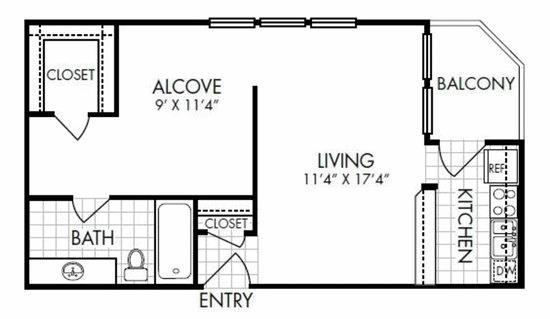 571 sq. ft. EFF floor plan