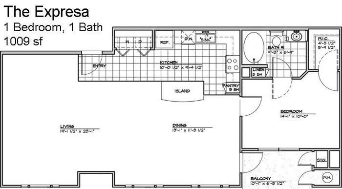 953 sq. ft. EXPRESSA/50% floor plan