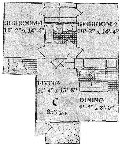 856 sq. ft. C floor plan