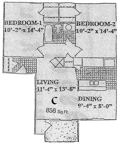 856 sq. ft. C floor plan