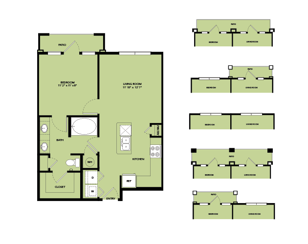 657 sq. ft. A2-I.10 floor plan