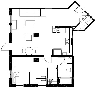 728 sq. ft. A5 floor plan