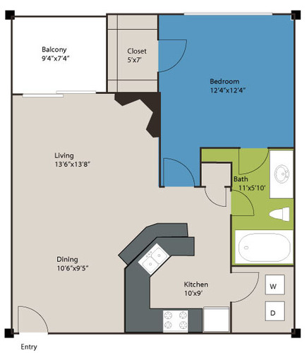771 sq. ft. A2 floor plan