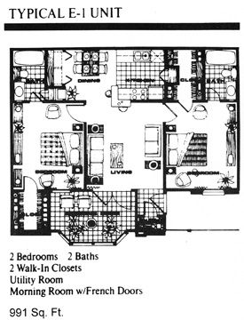 991 sq. ft. E1 floor plan