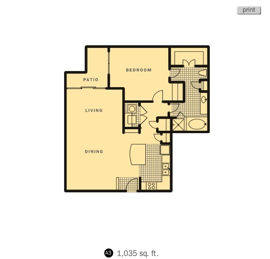 1,035 sq. ft. Yale floor plan