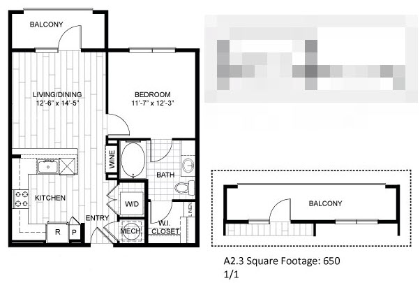 650 sq. ft. A2.3 floor plan