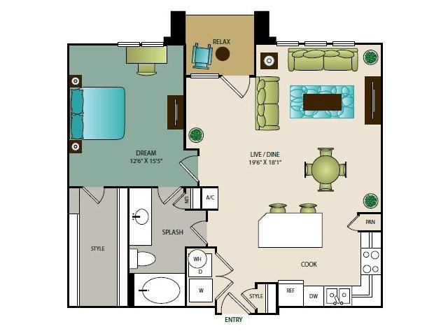 898 sq. ft. A4 floor plan
