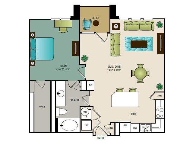 898 sq. ft. A4 floor plan