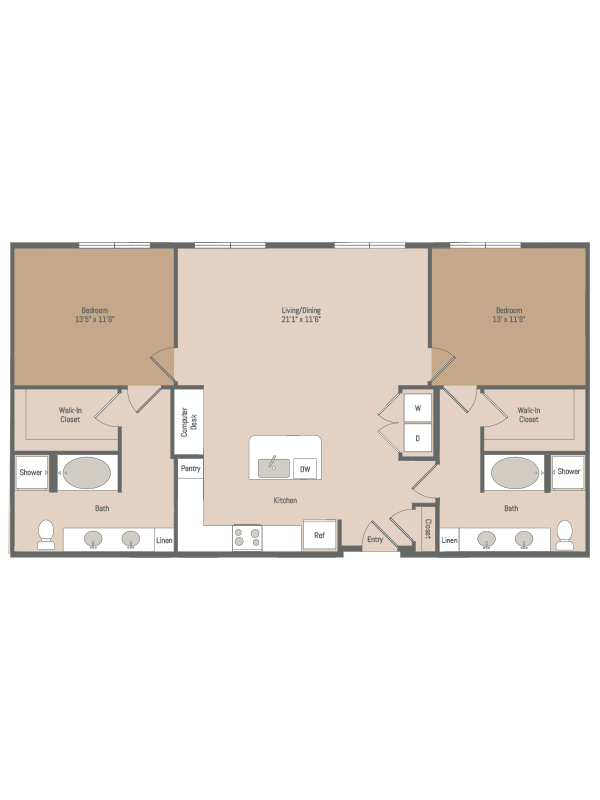 1,285 sq. ft. B6 floor plan