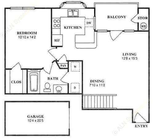 736 sq. ft. A2B floor plan