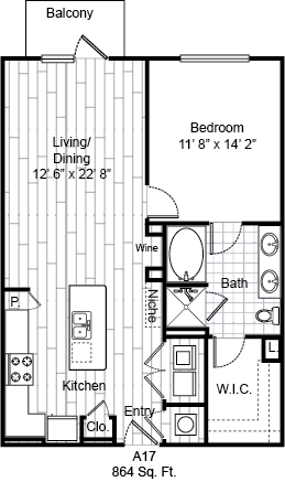 864 sq. ft. A17 floor plan