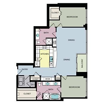 1,723 sq. ft. H floor plan