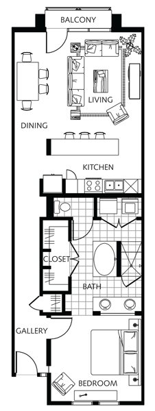 991 sq. ft. to 1,085 sq. ft. A-1.2 floor plan
