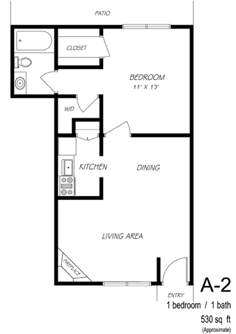 527 sq. ft. A2 floor plan
