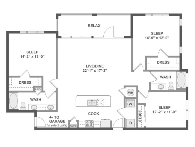 1,541 sq. ft. D6 floor plan