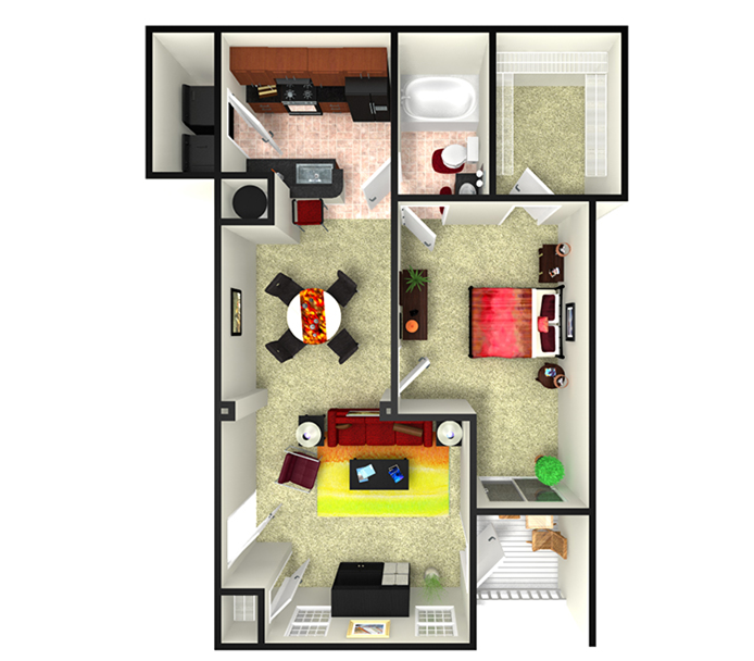 870 sq. ft. A3L floor plan