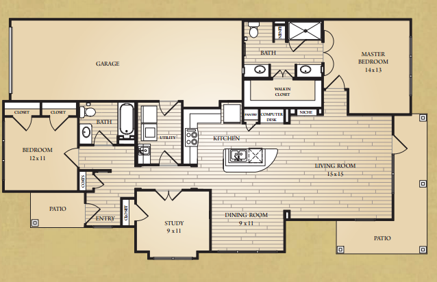 1,464 sq. ft. Travis Villa floor plan