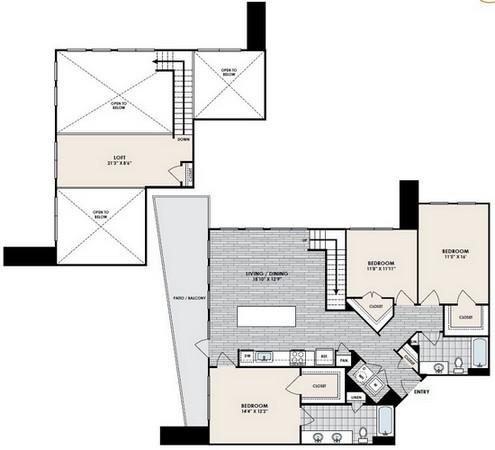 1,650 sq. ft. C3 floor plan