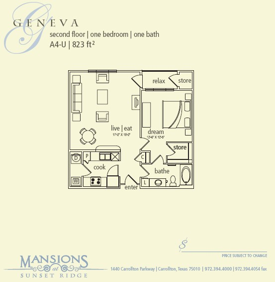 823 sq. ft. Geneva floor plan