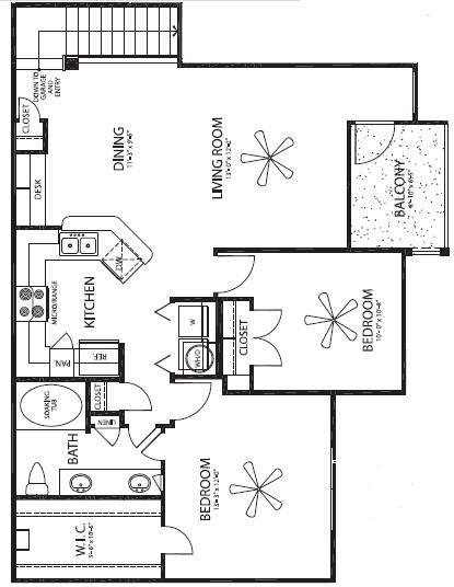 1,095 sq. ft. Flamemco/G floor plan